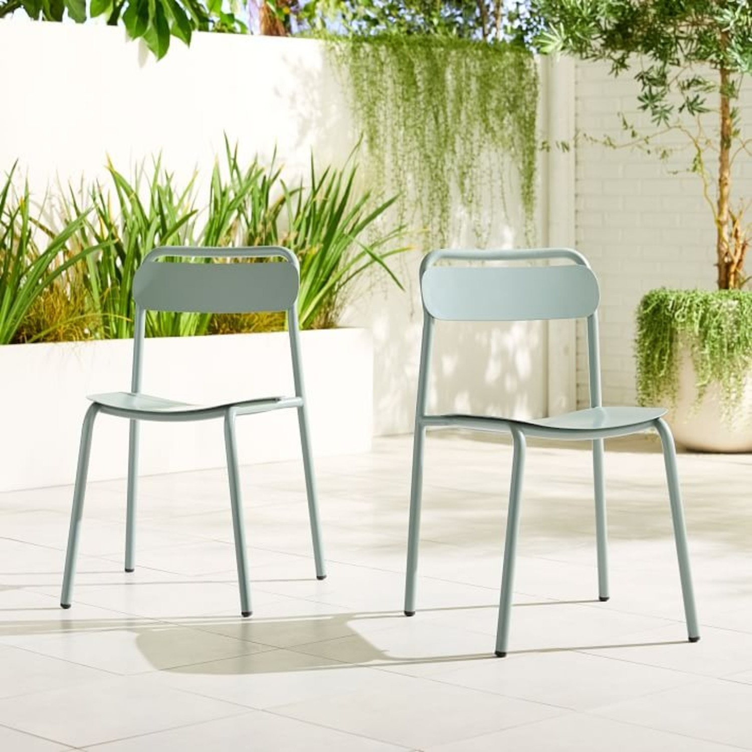 West Elm Outdoor Metal Stacking Chair (Set of 2) - image-2