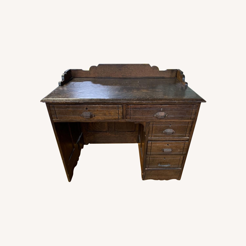 Antique Oak NYC Teachers Desk - image-0