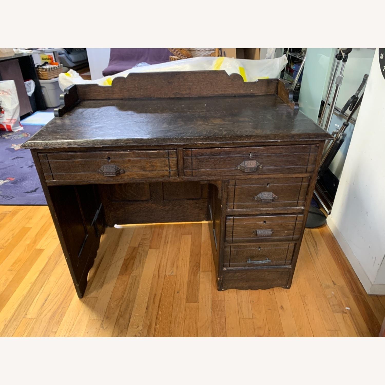 Antique Oak NYC Teachers Desk - image-1