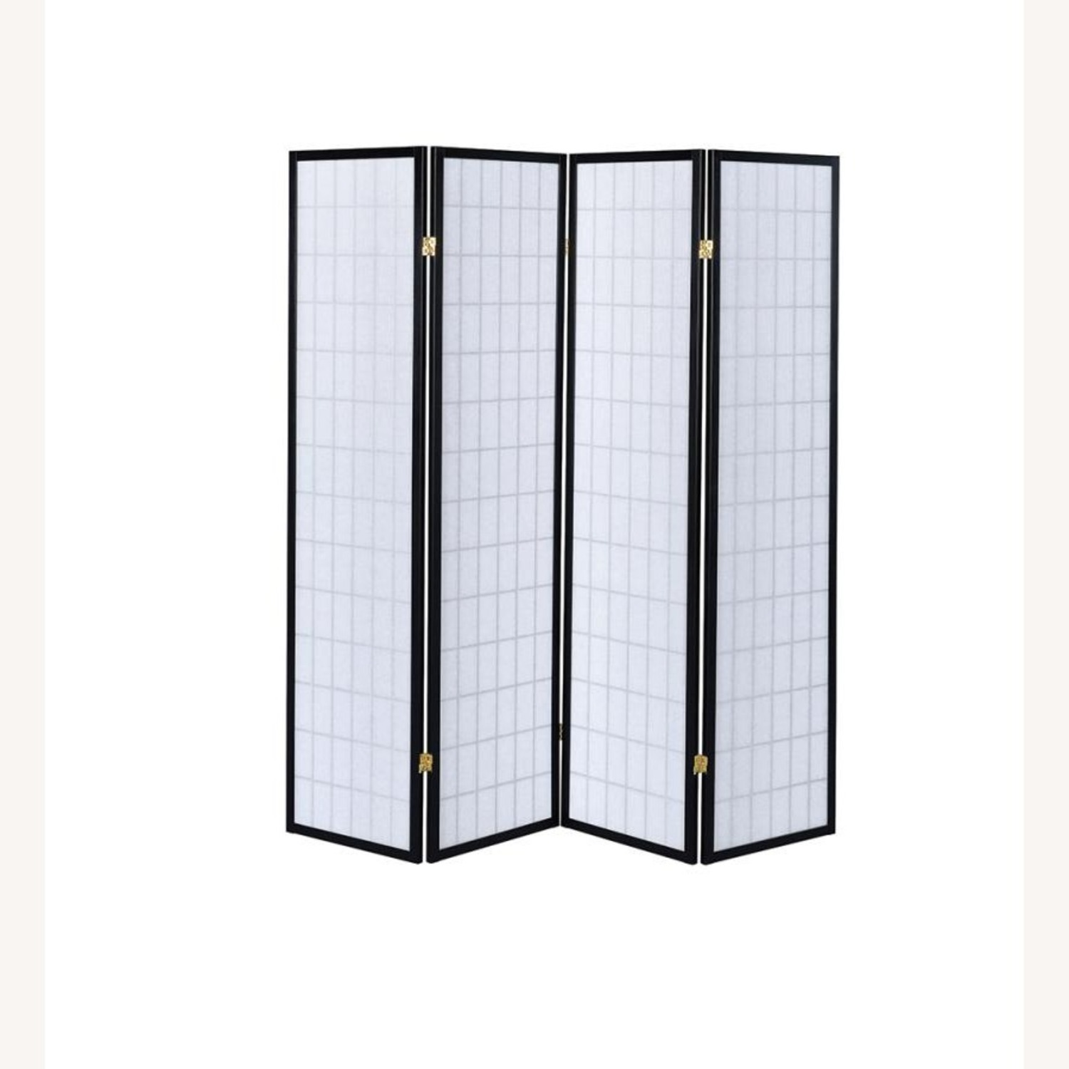4-Panel Screen In White W/ Linear Grid Design - image-0