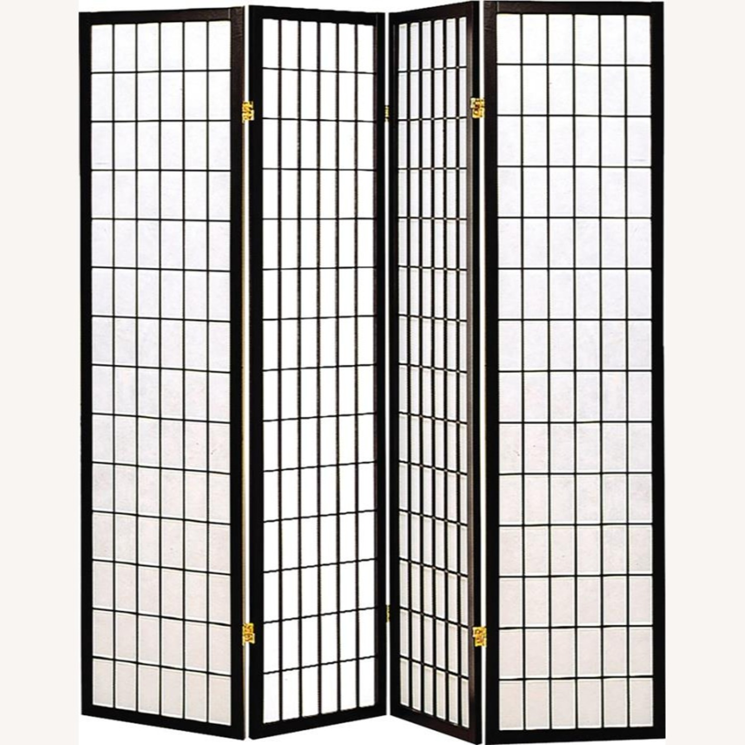 4-Panel Screen In White W/ Linear Grid Design - image-1
