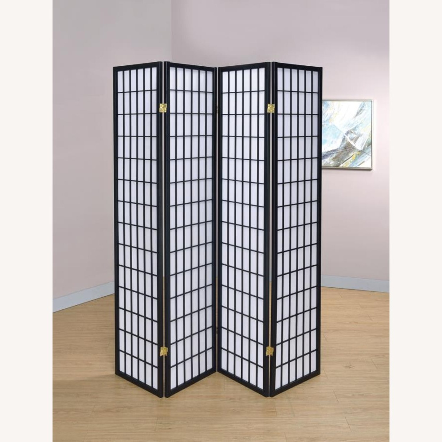 4-Panel Screen In White W/ Linear Grid Design - image-3