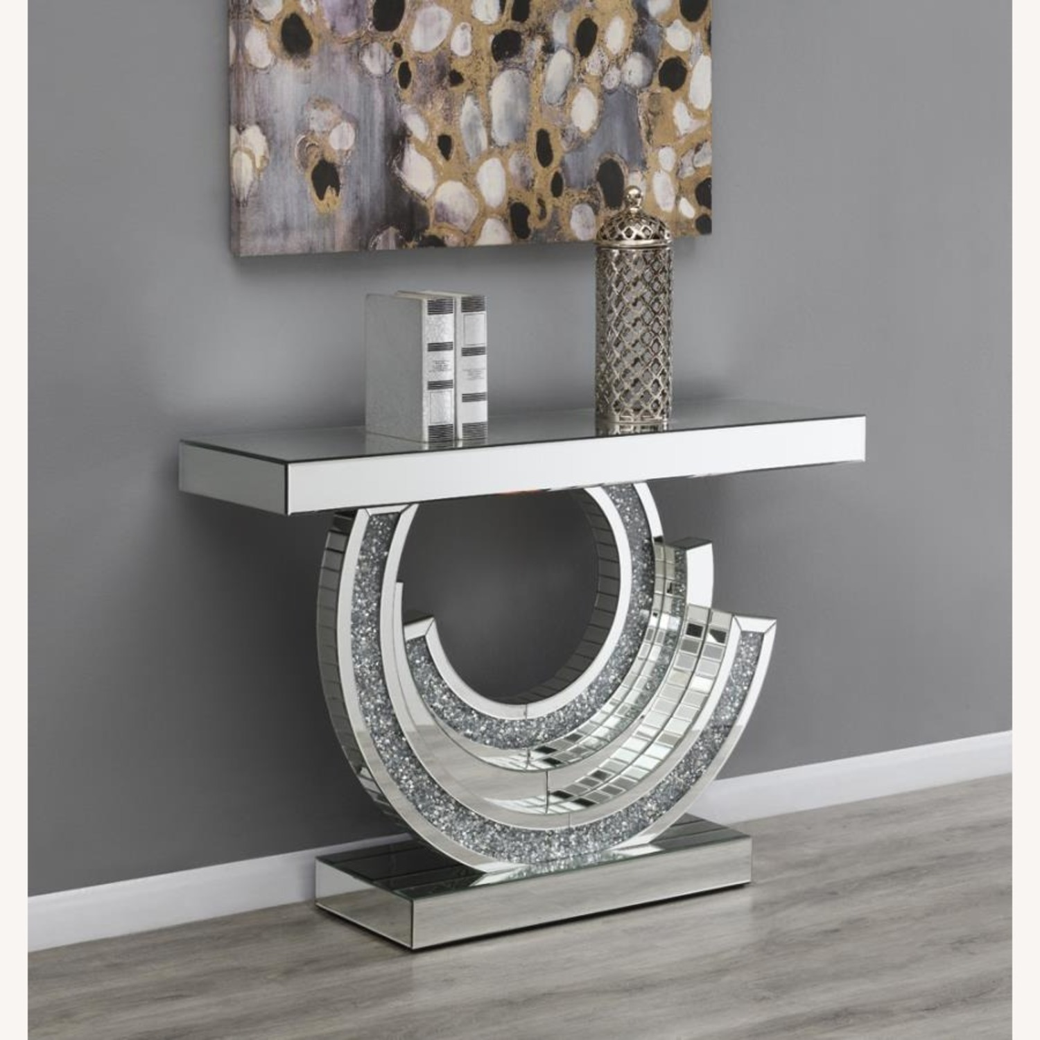 Console Table In Silver W/ Mirrored Table Top - image-2