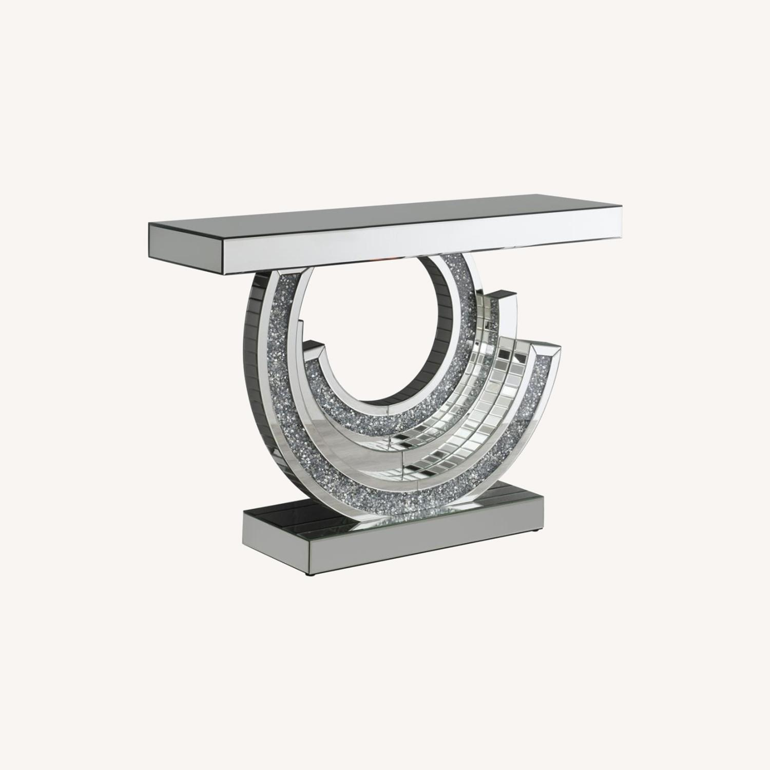 Console Table In Silver W/ Mirrored Table Top - image-4
