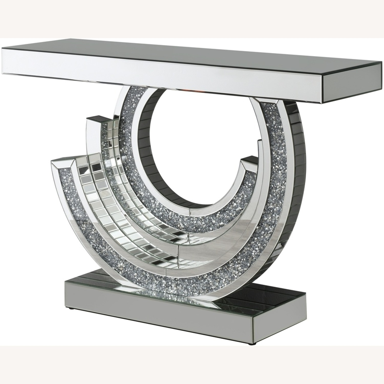 Console Table In Silver W/ Mirrored Table Top - image-1