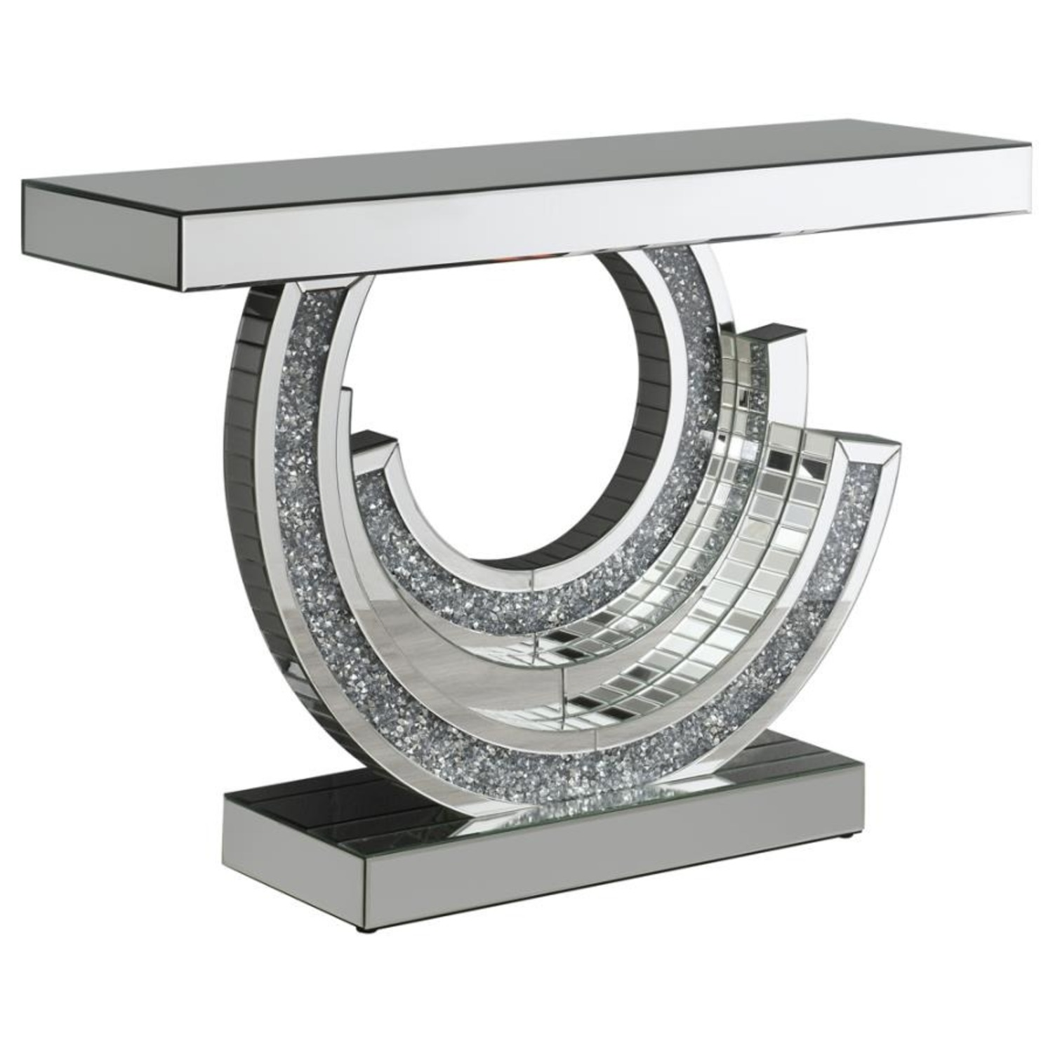 Console Table In Silver W/ Mirrored Table Top - image-0