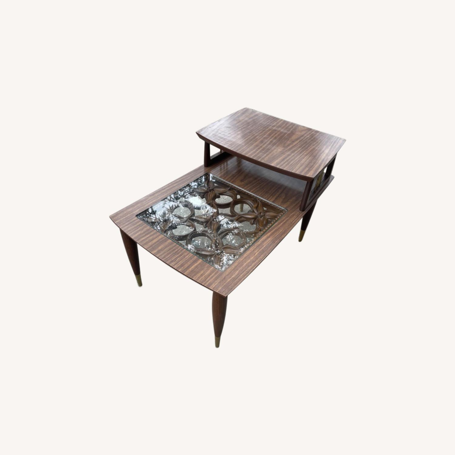 Mid Century Rare Carved Wood & Glass Coffee Table - image-0