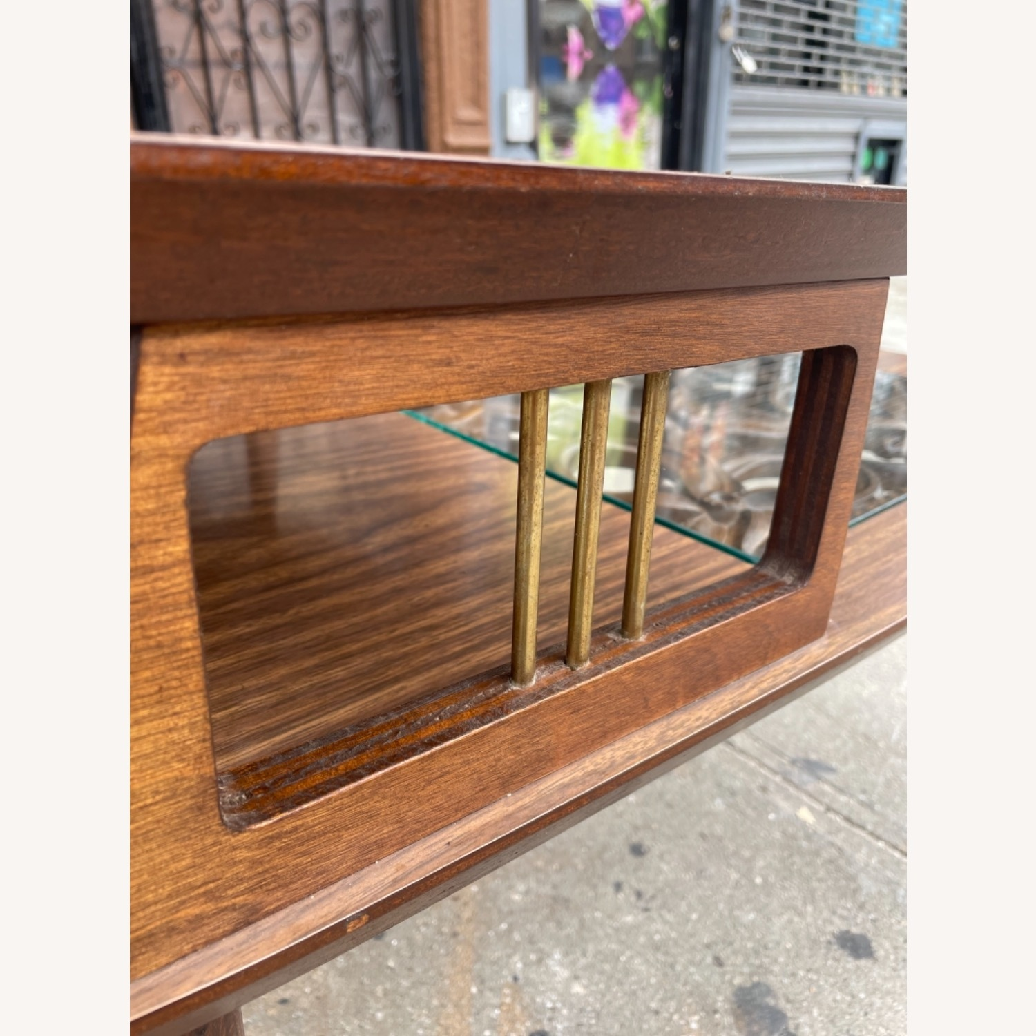 Mid Century Rare Carved Wood & Glass Coffee Table - image-8