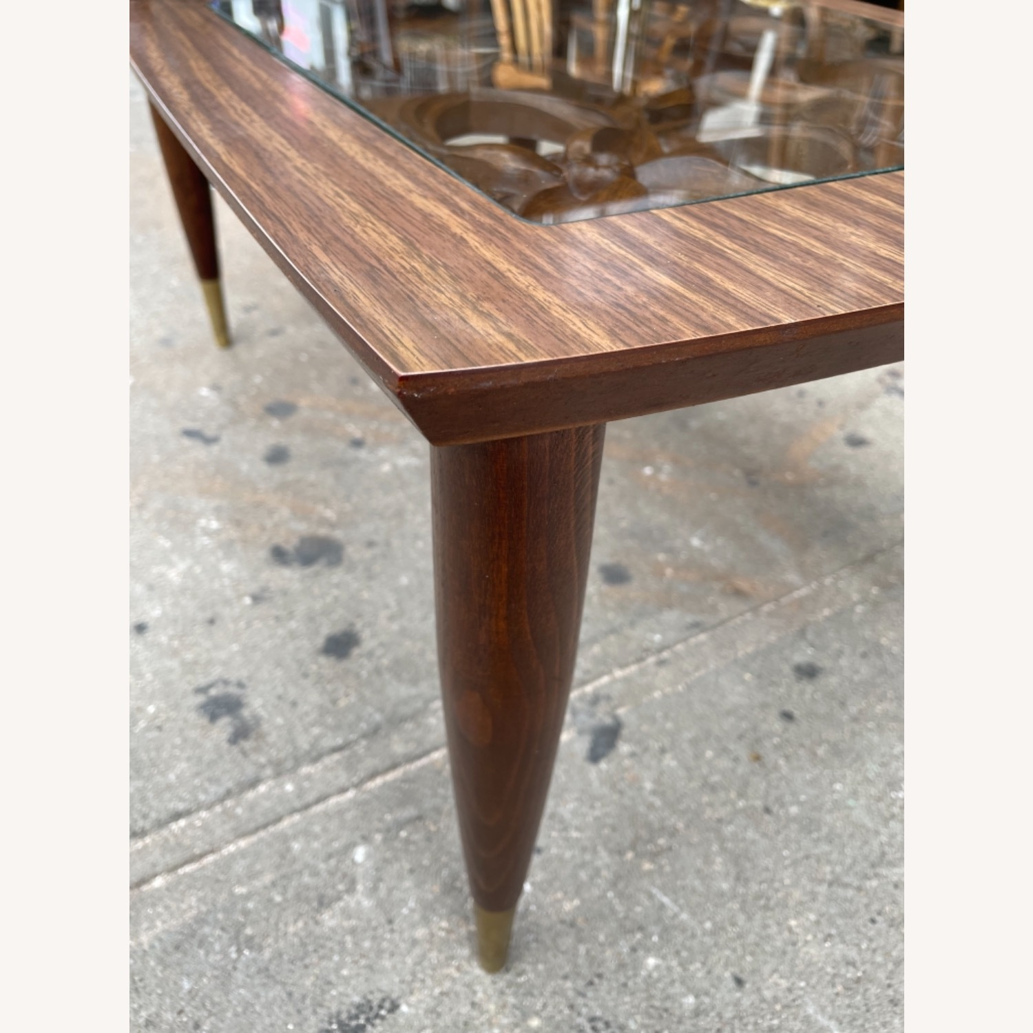 Mid Century Rare Carved Wood & Glass Coffee Table - image-12