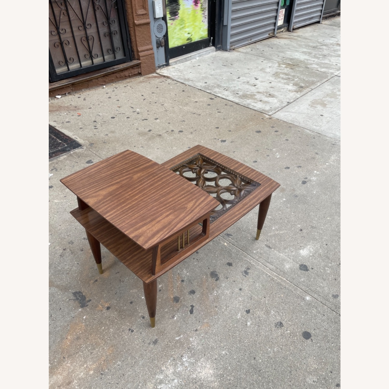 Mid Century Rare Carved Wood & Glass Coffee Table - image-6