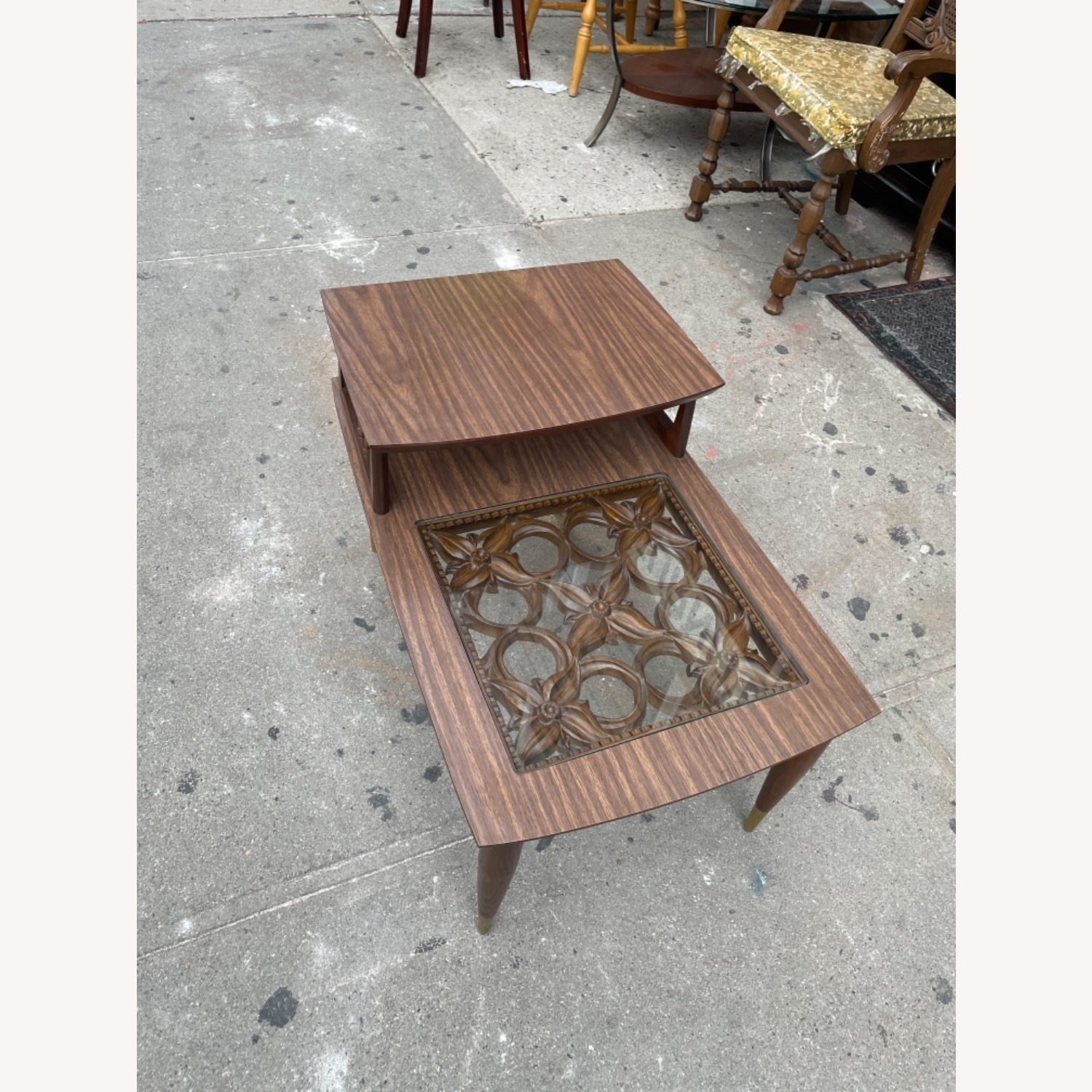 Mid Century Rare Carved Wood & Glass Coffee Table - image-4