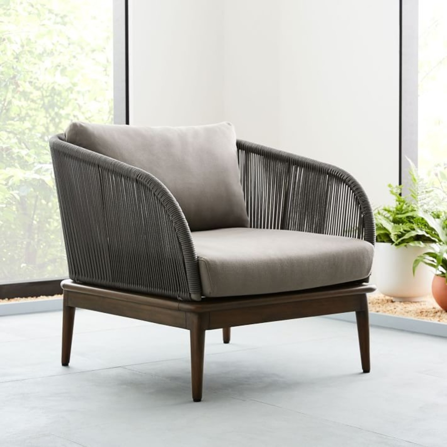 West Elm Corded Weave Outdoor Lounge Chair - image-3