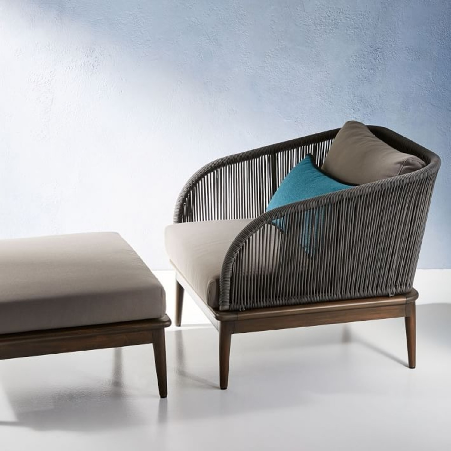 West Elm Corded Weave Outdoor Lounge Chair - image-1