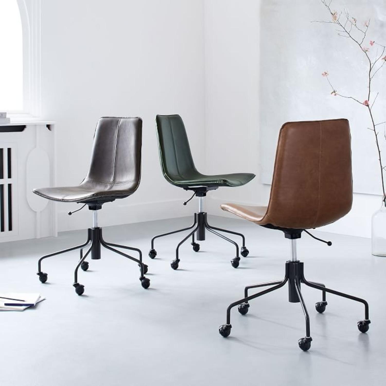 West Elm Slope Office Chair, Saddle Leather, Nut - image-2