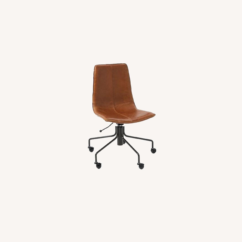 West Elm Slope Office Chair, Saddle Leather, Nut - image-0
