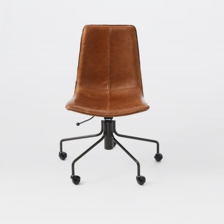 West Elm Slope Office Chair, Saddle Leather, Nut - image-3