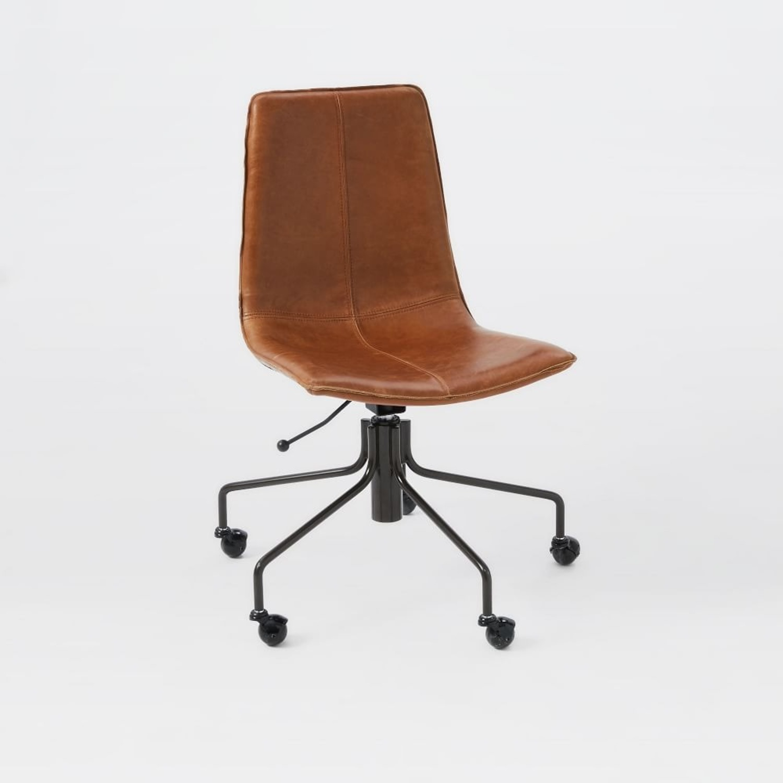 West Elm Slope Office Chair, Saddle Leather, Nut - image-1