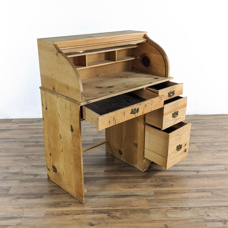Pine Roll Top Desk - image-1