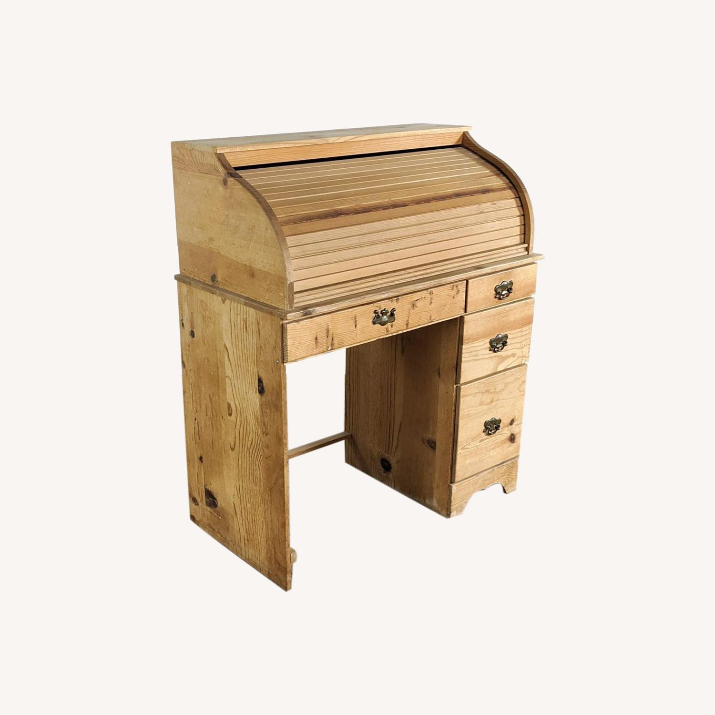 Pine Roll Top Desk - image-0