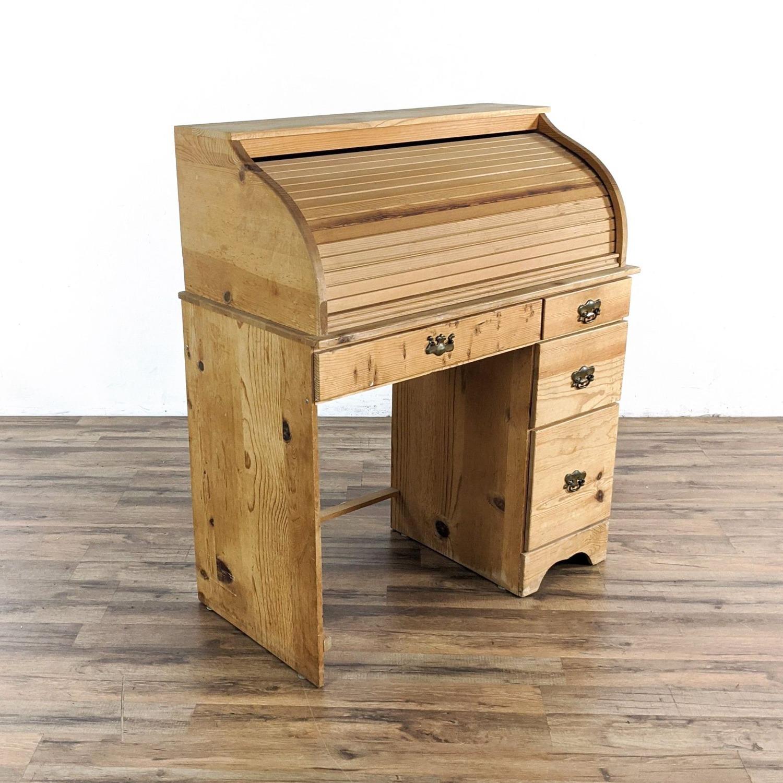 Pine Roll Top Desk - image-4