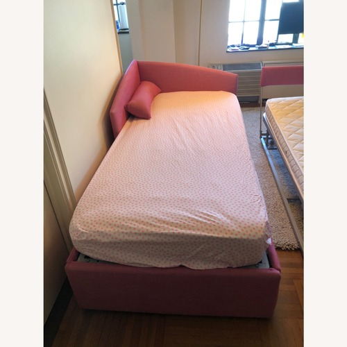 Used Custom Upholstered Twin Bed with Trundle for sale on AptDeco