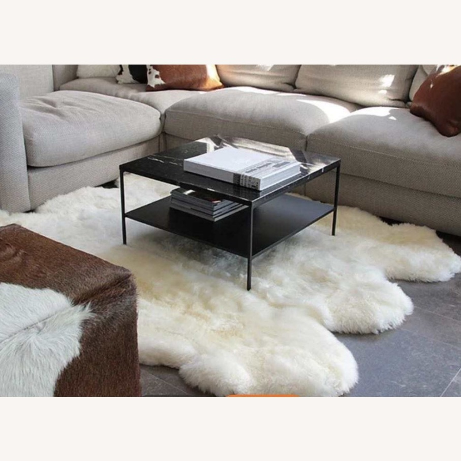 Warm Floor Mat Made with Authentic Fur - image-1