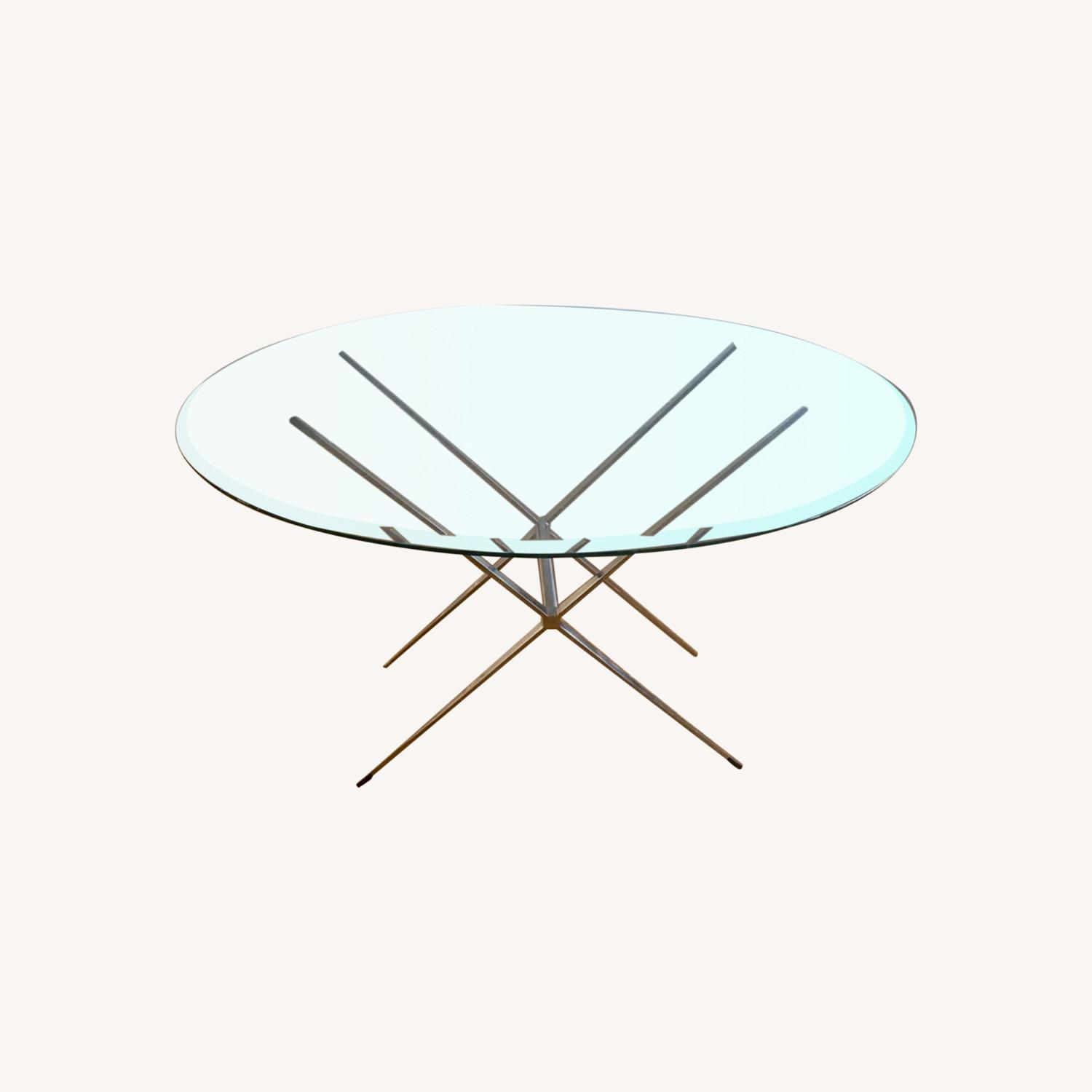 Vintage Glass Coffee Table with Reversible Stand - image-0