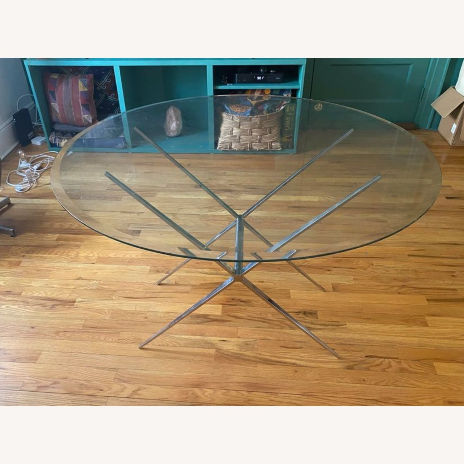 Vintage Glass Coffee Table with Reversible Stand - image-1