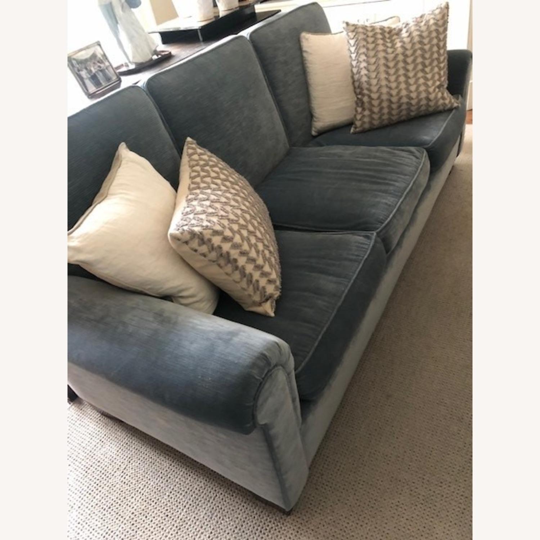 Taylor Made Custom Made Slate Blue Velvet Sofa - image-3