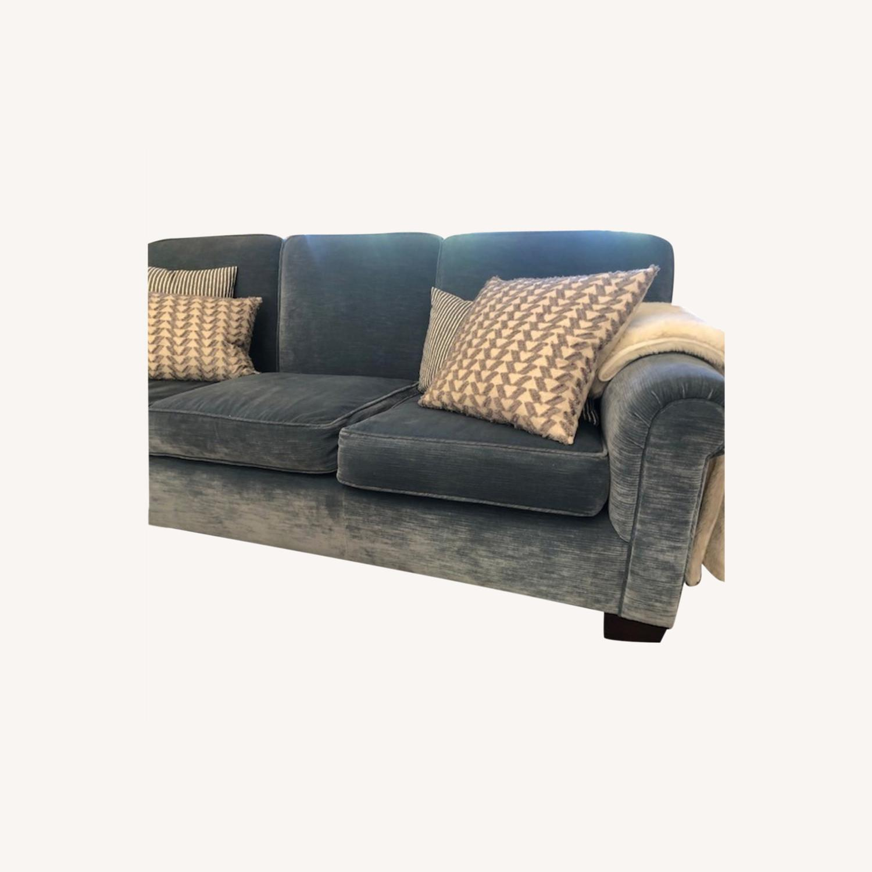 Taylor Made Custom Made Slate Blue Velvet Sofa - image-0