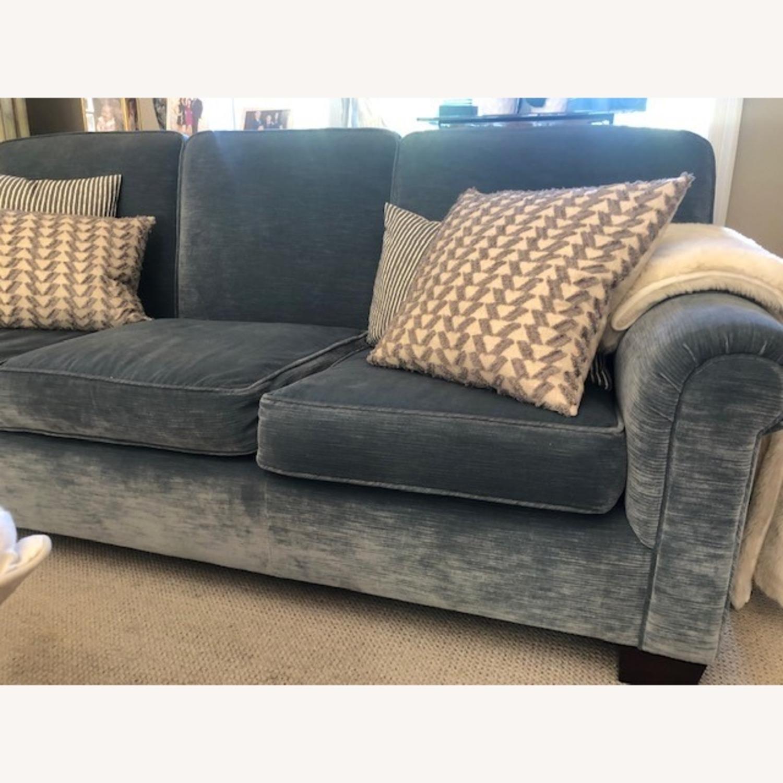 Taylor Made Custom Made Slate Blue Velvet Sofa - image-1
