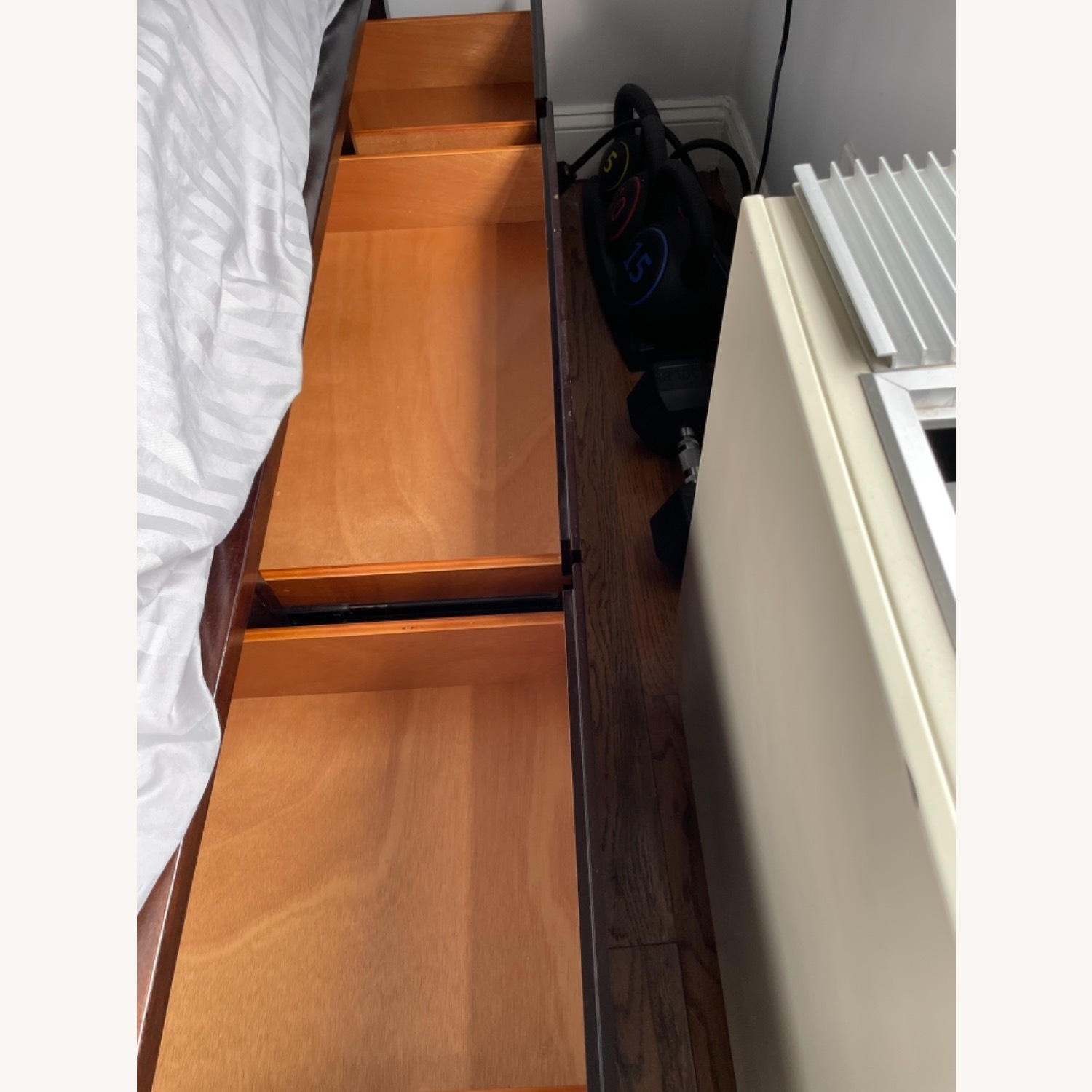West Elm Wooden Bed with Storage - image-1
