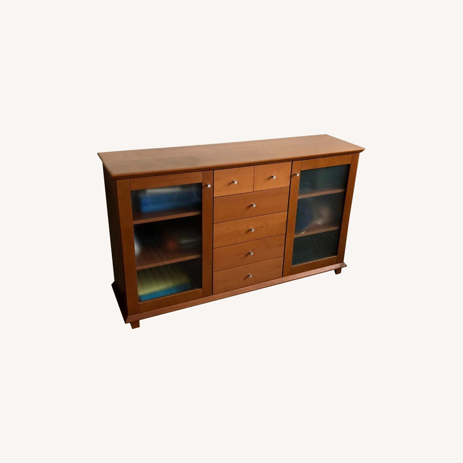 Wood Cherry and Glass Credenza - image-0