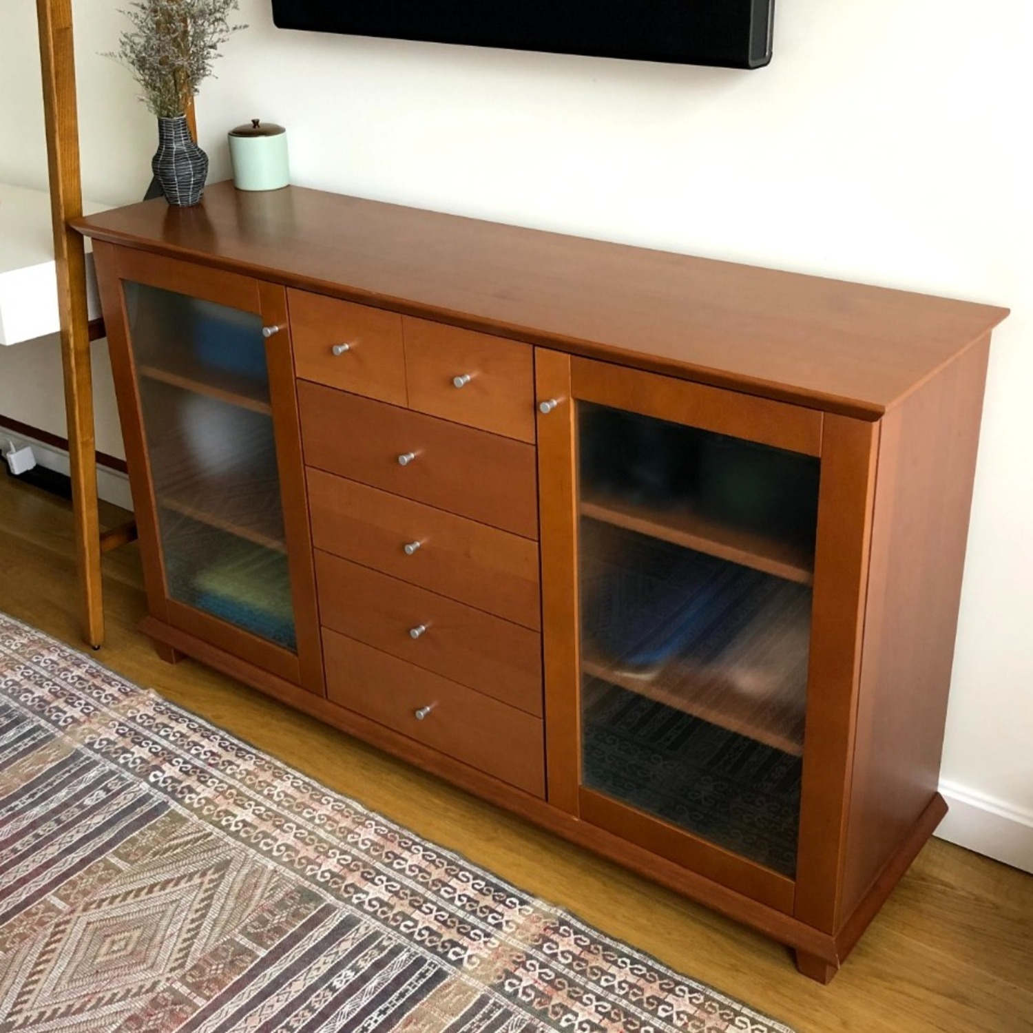 Wood Cherry and Glass Credenza - image-1