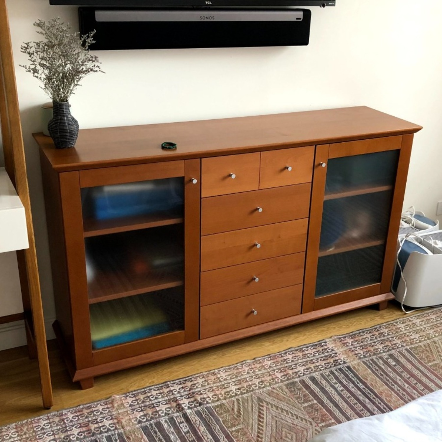 Wood Cherry and Glass Credenza - image-2