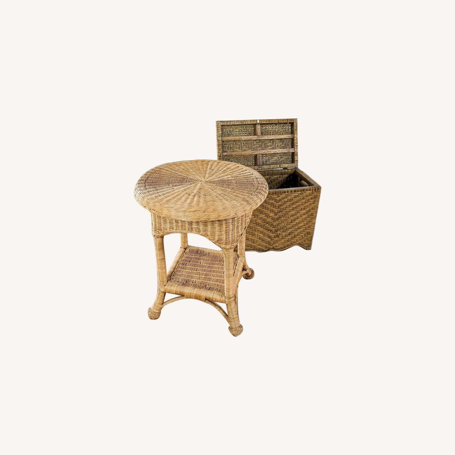 Wicker Table and Storage Chest - image-0