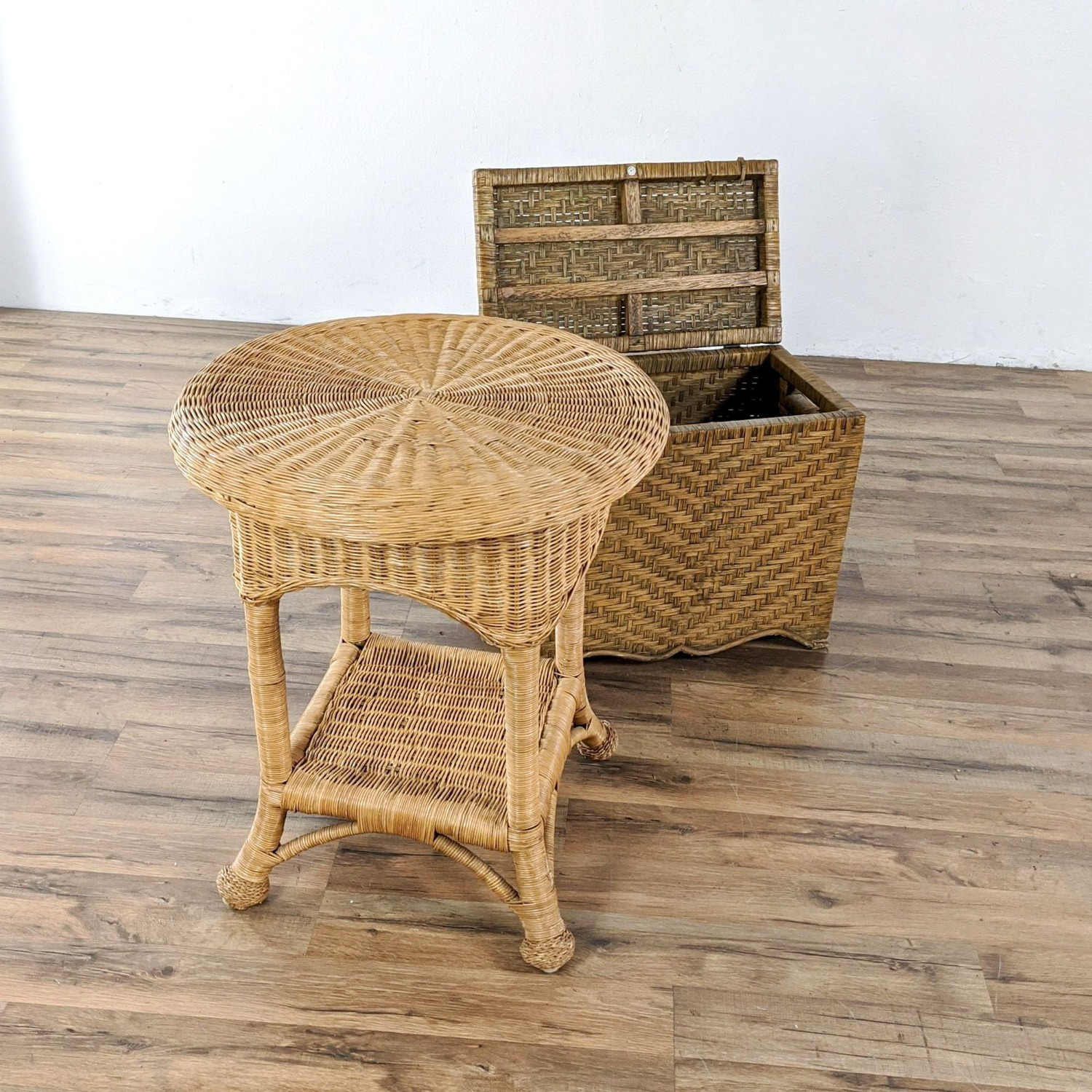 Wicker Table and Storage Chest - image-1