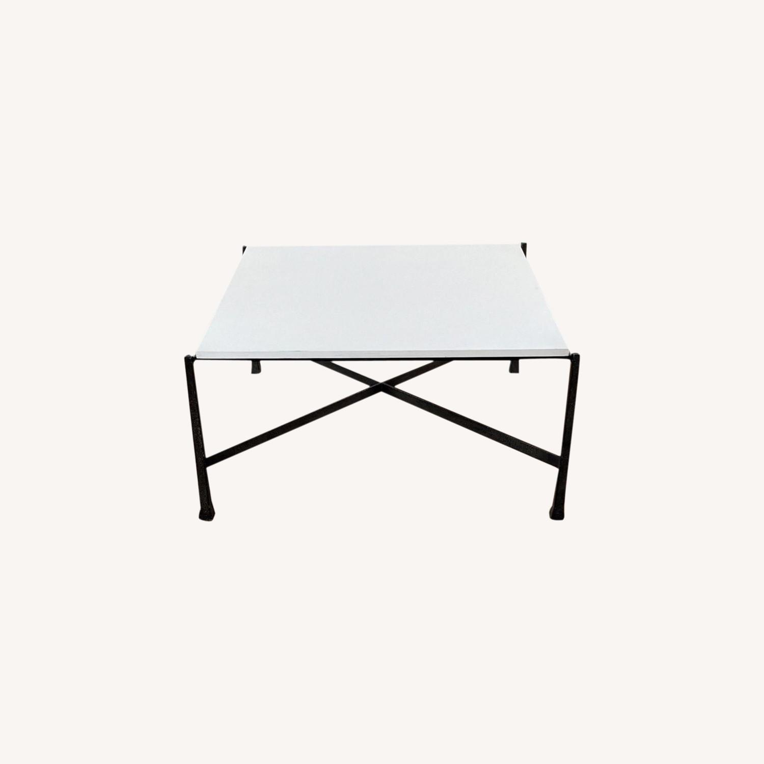Wrought Iron Base Coffee Table - image-0