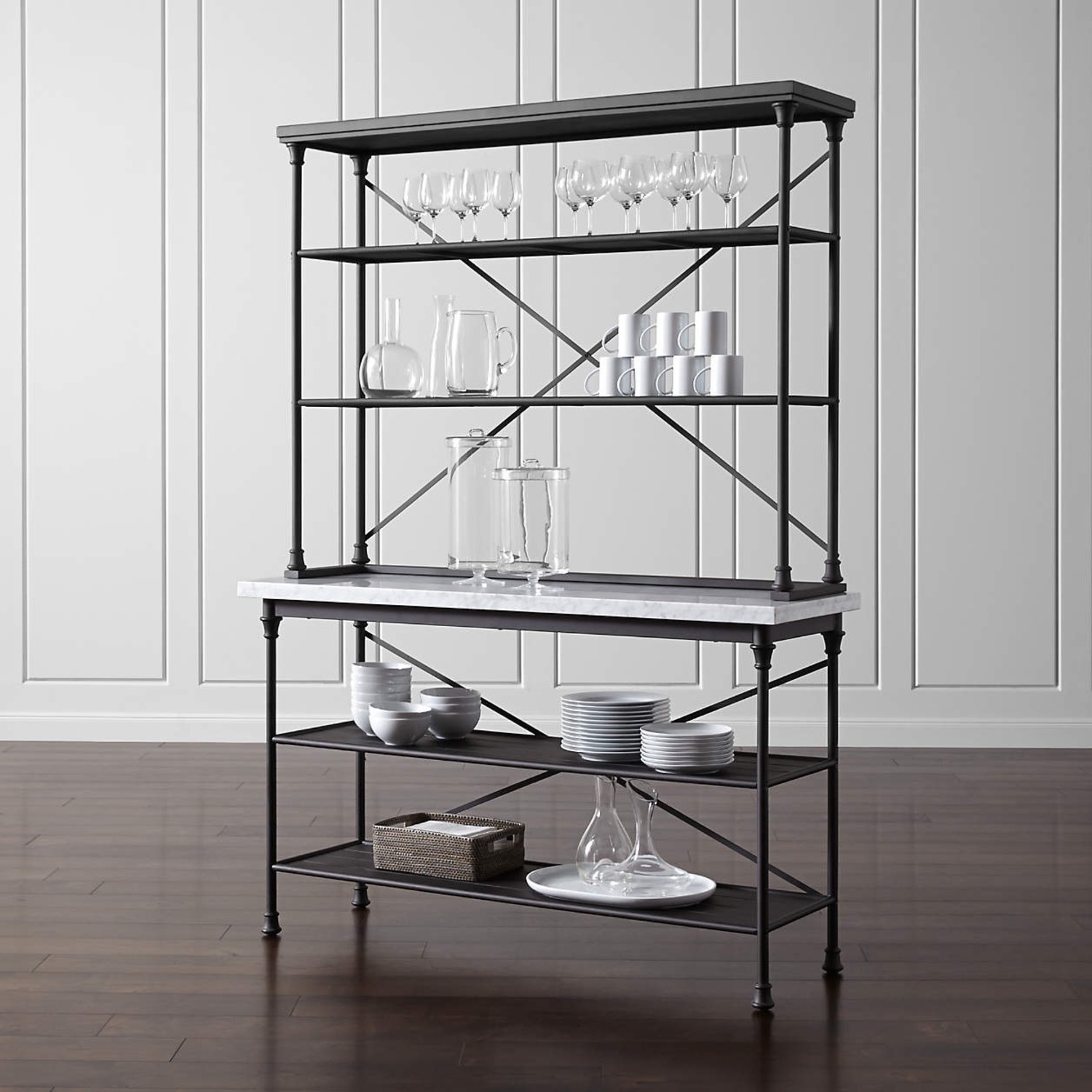 Crate & Barrel French Kitchen Bakers Rack with Hutch - image-0
