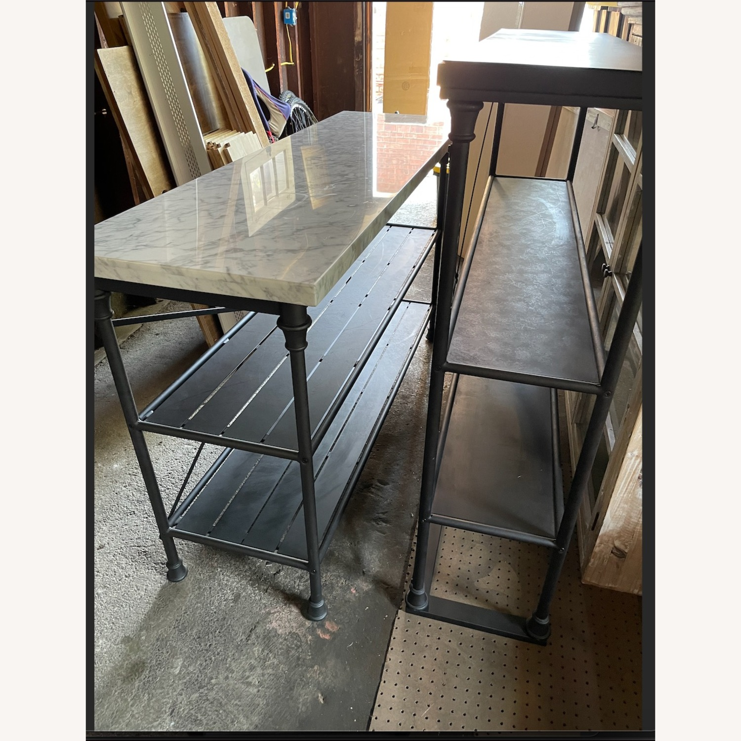 Crate & Barrel French Kitchen Bakers Rack with Hutch - image-3