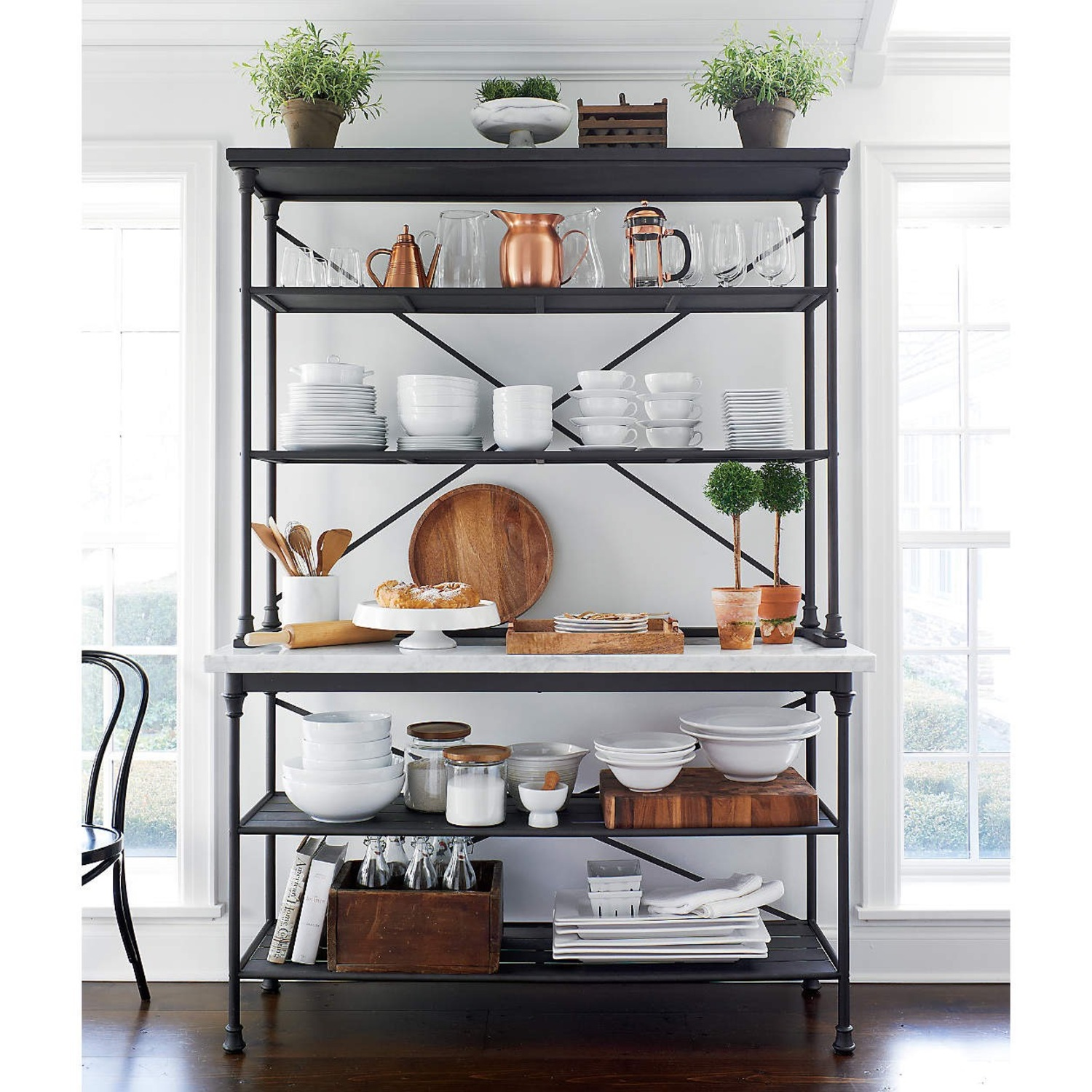 Crate & Barrel French Kitchen Bakers Rack with Hutch - image-8