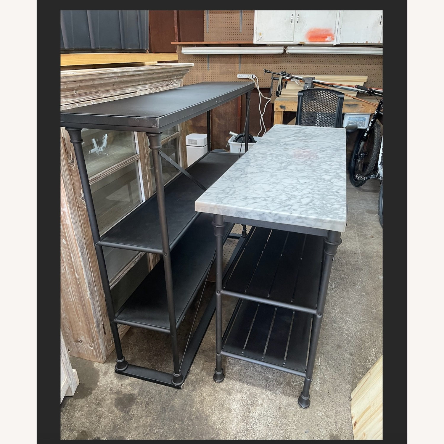 Crate & Barrel French Kitchen Bakers Rack with Hutch - image-2
