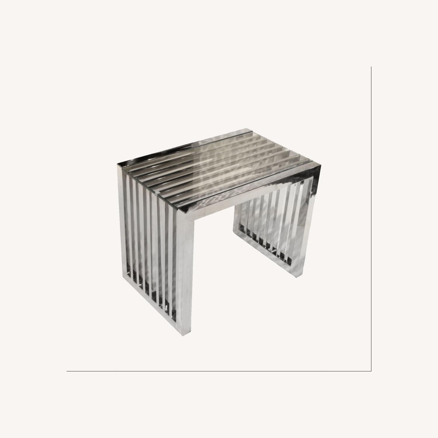 Silver and Glass End Tables - image-0