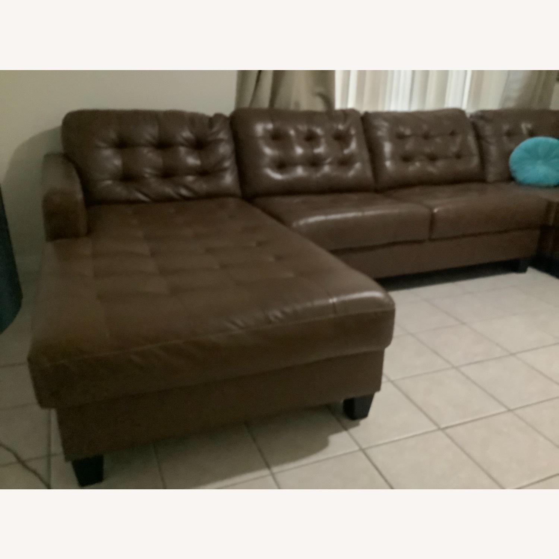 Ashley Furniture Dark Brown Leather Sofa - image-4