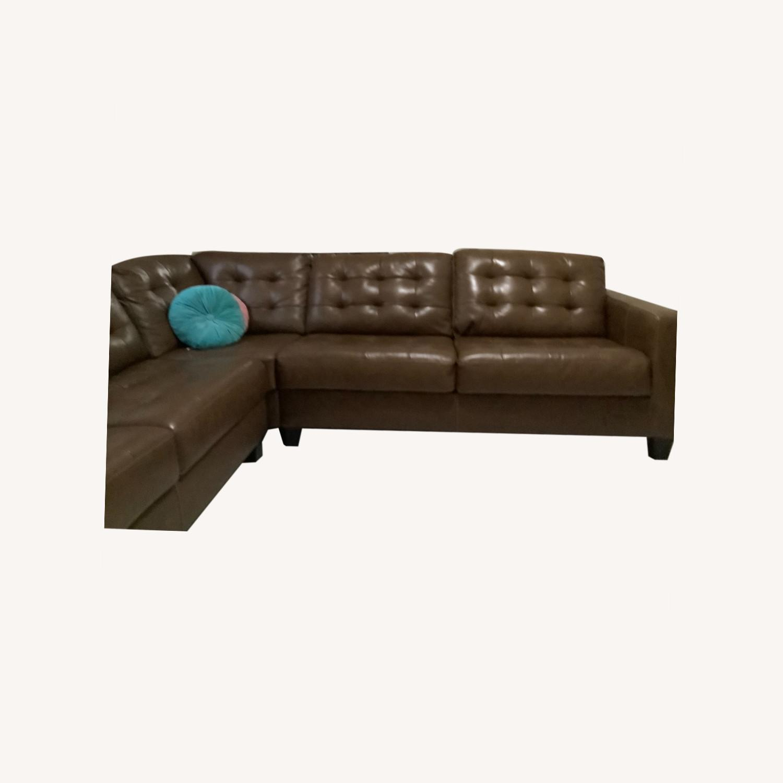 Ashley Furniture Dark Brown Leather Sofa - image-0
