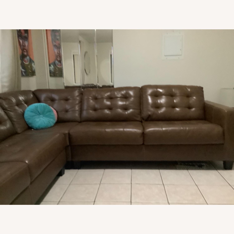 Ashley Furniture Dark Brown Leather Sofa - image-1