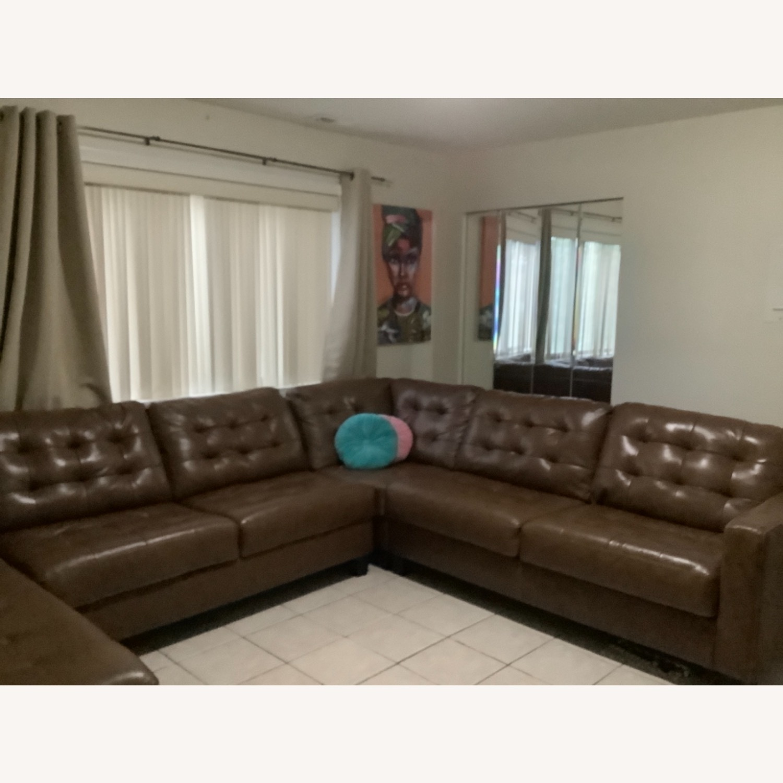 Ashley Furniture Dark Brown Leather Sofa - image-2