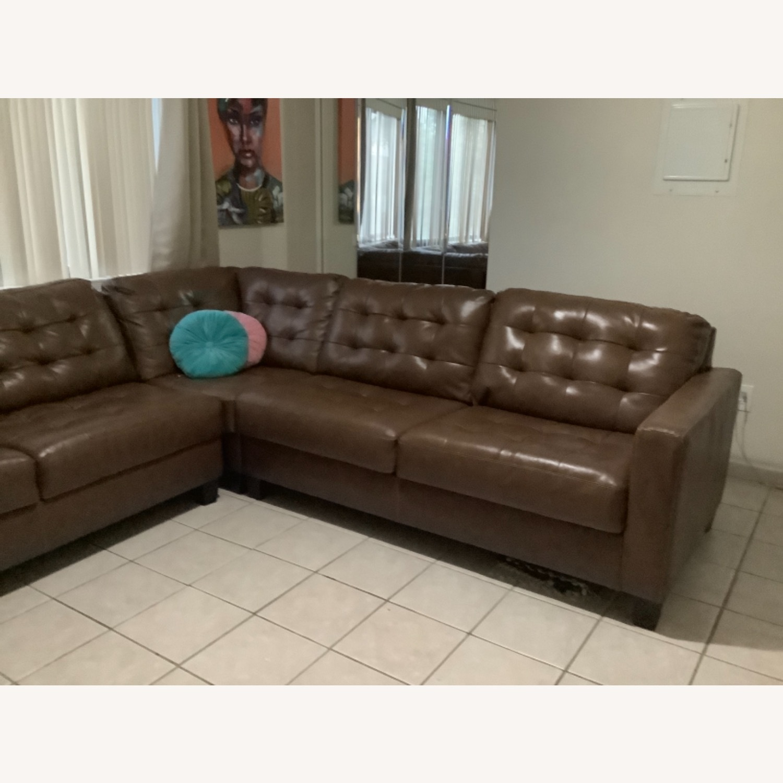 Ashley Furniture Dark Brown Leather Sofa - image-5