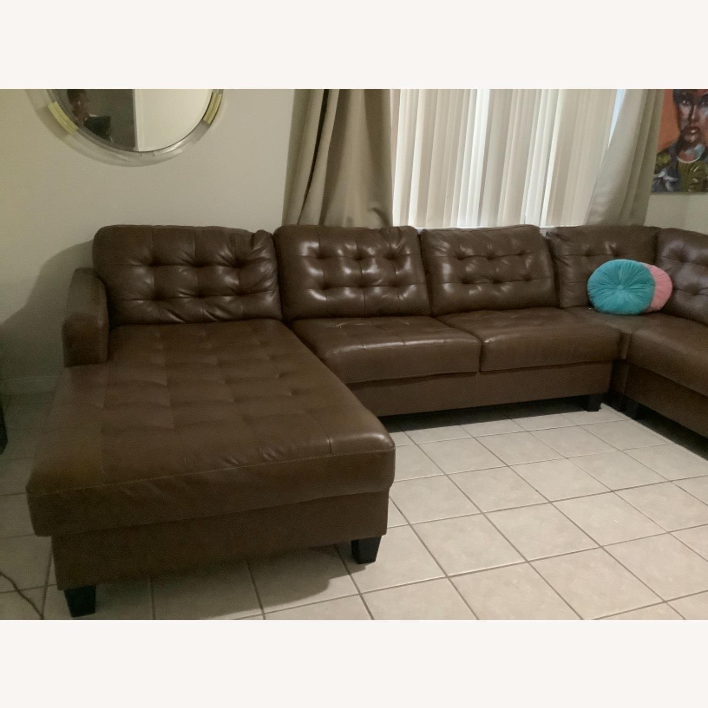 Ashley Furniture Dark Brown Leather Sofa - image-3