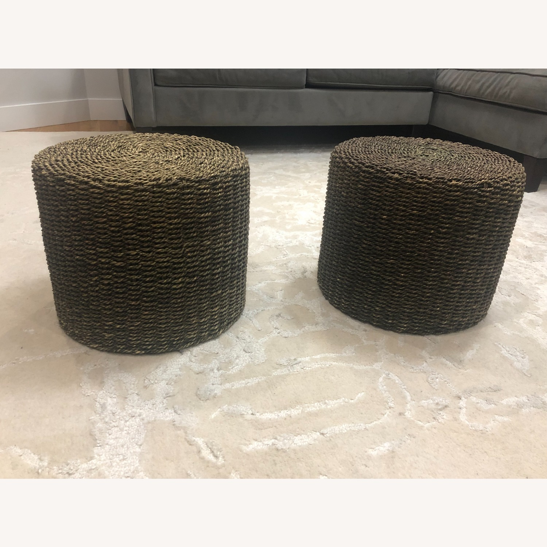 Pair of Round Jute Stools - image-1